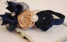 Cream and Navy  Roses Headband posh with Navy Chiffon Bow   Baby Headband Girl Headband
