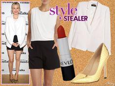 Black skirt, white top/blazer, metallic heels - great work outfit inspiration