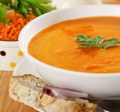 Supă de linte roşie şi cartofi dulci