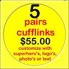Bundle 5 pair super hero Cufflinks 20mm custom name by boloties