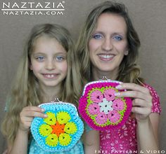 DIY Free Pattern Crochet African Flower Granny Motif Coin Change Snap Purse Clutch Bag with YouTube Tutorial Video by Naztazia