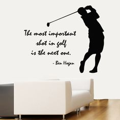 Golfer Wall Decals Quote Boy Golf Player Vinyl Decal Sticker Sport Decor kk804