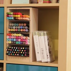 Markers are hard to keep organized. That's why we created several solutions to storing your craft markers, including our Marker Nook, Marker Holder, Side-by-Side Holder, and Stacked Holders. Kids Room Organization, Craft Room Storage, Kids Storage, Storage Shelves, Craft Rooms, Storage Ideas, Craft Space, Toy Storage, Shelf