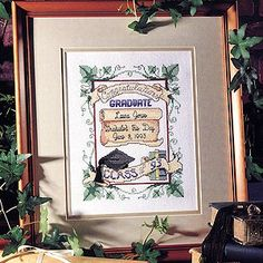 """Graduate's Record Cross Stitch ePattern - Number of Designs: 1Approximate Design Size: Stitch Count: 86w x 116h6 1/4""""w x 8 3/8""""h (when stitched on 14 count fabric)Designer: Holly DeFount of Kooler Design StudioOriginal Publication: Cross Stitch Lites #83062, Graduate's Record †Description: With its little tassel and personalized information, this graduation record is a keepsake to treasure. The design was cross stitched on White Aida (14 count) and custom framed. The stitched wording says…"""