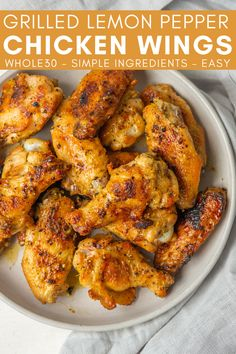 Make these Grilled Lemon Pepper Chicken Wings for a healthy grilled appetizer. These grilled wings are bursting with flavor and made with simple Whole30 and paleo-friendly ingredients. Healthy Beef Recipes, Healthy Meats, Healthy Grilling, Healthy Appetizers, Party Appetizers, Easy Main Dish Recipes, Meat Recipes For Dinner, Summer Grilling Recipes, Grilled Lemon Pepper Chicken