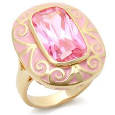Gold Tourmaline Deco Cocktail Ring Enamel Swirls Pink Cubic Zirconia Size 9 #Unbranded #Cocktail