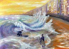 Painting «Winter Sunset» by Nadine Lière, Acrylic on canvas board, 70 x 50 cm, 2016, grenadine-art.eu
