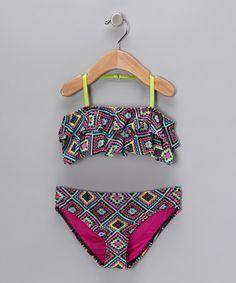 Take a look at this Jantzen Black & Lime Aztec Bikini - Girls by Jantzen on #zulily today!