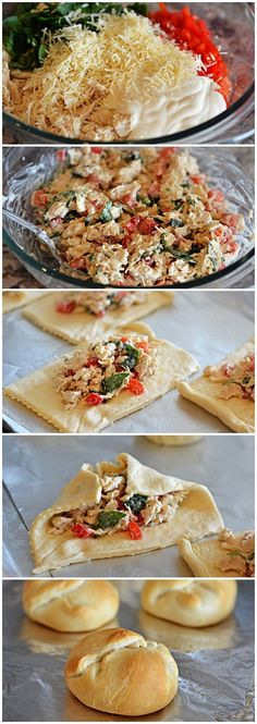 Creamy Garlic-Chicken Bundles Recipe. To take to soccer games when we'll be gone all day going from game to game. Appetizer Recipes, Appetizers, Dinner Recipes, Good Food, Yummy Food, Tasty, Herzhaftes Fingerfood, Empanadas, Chicken Bundles