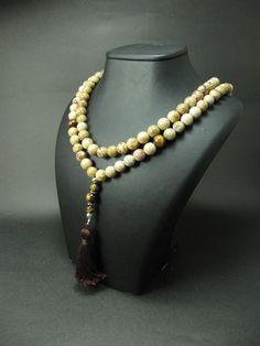 108 Mala Beads,Picture Jasper & Tigereye, Gypsy Jewelry, Mala Necklace, Boho Jewelry, Yoga Jewelry, Mala Bead, Bohemian Necklace