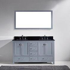 Virtu USA Caroline Avenue 60 Inch Double Black Granite Bathroom Vanity Set  (grey, Round Sinks   Round), Grey/Round Sinks