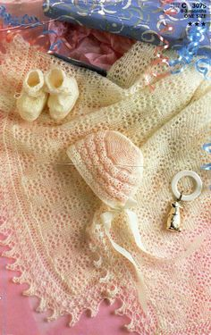 Vintage 2ply baby shawl bonnet bootees knitting pattern pdf baby lace shawl Christening lacy square shawl 48x52 inch 2ply lace Download by Minihobo on Etsy