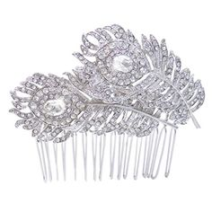 EVER FAITH Silver-Tone Bridal Dual Peacock Feather Clear Austrian Crystal Hair Comb A12895-1 EVER FAITH http://www.amazon.com/dp/B00HN1RH64/ref=cm_sw_r_pi_dp_PfIkub136Q87A