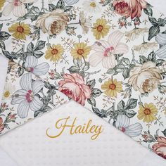 Retro flowers personalized blanket for girl, Hibiscus and rose floral blanket with name, Vintage roses nursery bedding, Crib blanket floral Baby Girl Bedding, Nursery Bedding, Nursery Decor, Crib Blanket, Baby Girl Blankets, Rose Nursery, Girl Nursery, Zentangle, Paisley