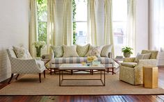 Sarah Richardson collection for Kravet fabrics featured in this living space. Available at the D&D Building suite 324 Home Living Room, Apartment Living, Living Room Furniture, Living Room Decor, Living Spaces, Sarah Richardson Home, Transitional Living Rooms, Up House, Studio