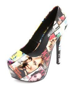 """supermodel photo print platform pumps. Platform: 2"""" Heel: 6"""""""