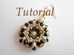 PDF beaded Earrings Roulette Tutorial- seed beads crystals pearls beading pattern