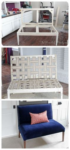 Ideas For Diy Furniture Projects Couch Small Spaces Diy Sofa, Diy Furniture Couch, Furniture Projects, Furniture Plans, Furniture Making, Furniture Makeover, Home Projects, Furniture Design, Diy Chair