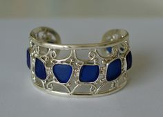 Blue Sea Glass Cuff Bracelet, $600.00