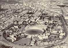 Aerial view of the University of Melbourne, 1956 Melbourne Victoria, Victoria Australia, Melbourne Architecture, Melbourne Suburbs, Australian Vintage, University Of Melbourne, Australian Continent, Panoramic Photography, It's Wonderful