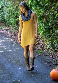Naomi Dress #fall #fashion #boots #scarf