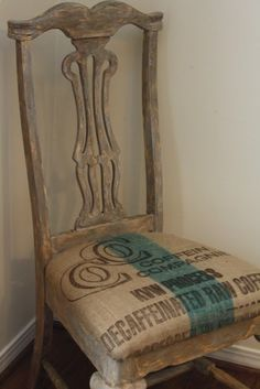 Distressed painted side dining room chair with burlap sack coffee bag upholstered seat cushion for cottage style home decor; french country; Upcycle, Recycle, Salvage, diy, thrift, flea, repurpose! For vintage ideas and goods shop at Estate ReSale  ReDesign, Bonita Springs, FL