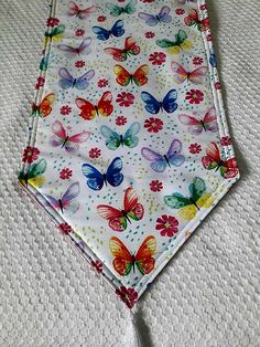 Butterfly and Flower Table Runner 72x14 Reversible and Padded
