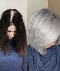 This Woman& Silver Hair-Color Transformation Will Make You Embrace Your Gra. This Woman& Silver Hair-Color Transformation Will Make You Embrace Your Gra. This Woman& Silver Hair-Color Transformation Will Make You Embrace Your Grays Grey Hair Modern, Modern Bob, Grey Hair Transformation, Gray Hair Highlights, Gray Hair Growing Out, Dramatic Hair, Silver Grey Hair, Grey Hair Brown Roots, Women Short Hair