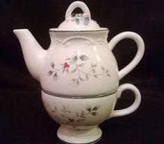"Pfaltzgraff Tea For One Set ""Winterberry""  Winter Holiday Christmas With tea pot #Pfaltzgraff"