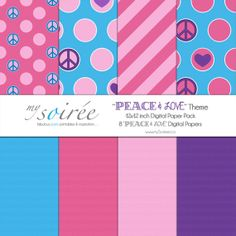 Peace & Love Theme DIGITAL PAPER Birthday Party Design, Birthday Parties, Blog Design, Web Design, Themes Themes, Digital Papers, Creative Words, Party Printables, Photo Cards
