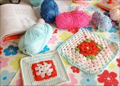 """Coco Rose Diaries  check out the sampler pic with the row of flowers.  (Also how the turquoise scaft was """"tied""""."""