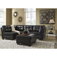 Ashley Furniture Khalil Durablend Sectional in Black  sc 1 st  Pinterest : ashley furniture hogan sectional - Sectionals, Sofas & Couches