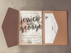 DIY wedding invitation fold out leaflet with tracing paper and floral background