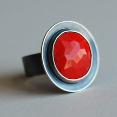 Poppy Red Antique Glass and Recycled Sterling Cocktail Ring