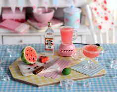 Miniature Making Watermelon Margaritas Set