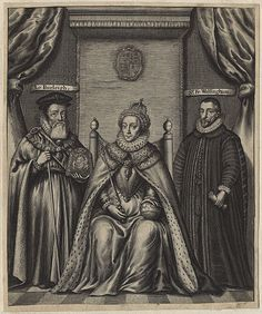 A 17th century engraving of Queen Elizabeth I and her two able advisors, William Cecil, Lord Burghley (1st Baron Burghley) and Sir Francis Walsingham.