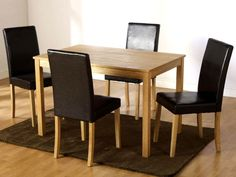 Genial Dining Room Table And Chairs Set Of 4 Seat 5 Piece Rectangular Wooden  Furniture