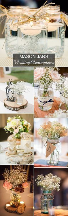 country rustic mason jars inspired wedding centerpieces ideas (Bottle Top Center Pieces)