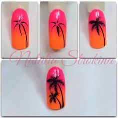 Tropical palm tree nails