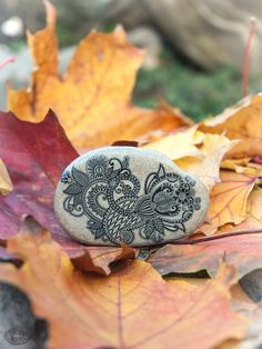 Flower Ornament Folk Art Boho Stone Art by KDspaceGifts on Etsy