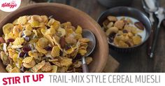 Oh my yum! Break free from the box with this Trail-Mix-Style Cereal Muesli breakfast idea. #StirUpBreakfast https://stirupbreakfast.kelloggs.com/recipes/browse/trail-mix-style-cereal-muesli You'll need Kellogg's® Frosted Flakes®, Kellogg's® Corn Flakes®, Kellogg's Crispix®, pumpkin seeds, raisins, dried cranberries, Planters® Mixed Nuts and milk or yogurt. Tip: Add chocolate chips, shredded coconut or banana chips to add even more flavor to your mix.