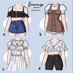 Manga Clothes, Drawing Anime Clothes, Kawaii Clothes, Fashion Design Drawings, Fashion Sketches, Retro Outfits, Cool Outfits, Kleidung Design, Mode Kpop