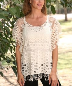 Take a look at the Beige Crochet Fringe Cape-Sleeve Top on #zulily today!