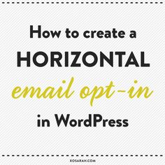 The new trend in business websites and blogs is a big email opt-in right below the header. Unfortunately most opt-ins are stacked vertically right out of the box, so today I'm going to help you do ...