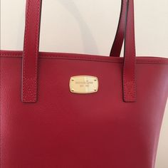 Michael Kors Small Leather Travel Tote Beautiful Michael Kors Jet Set Travel Tote in Red Perfect for Spring  Michael Kors Bags Totes