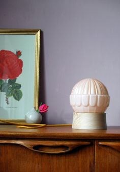 Art Deco table lamp pastel pink SHELL  20 by GemsOfLightLamps