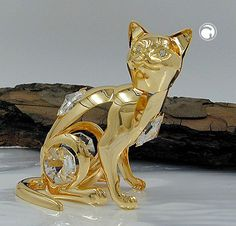 Katze mit Kristall-Glas, gold-plattiert