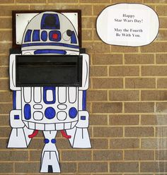 Simple and fun--Aurora Hills Branch Library in Arlington, VA R2-D2d their book drop for Star Wars Day.