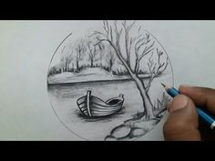 How to draw scenery drawing step by step / evening landscape scenery Scenery Drawing Pencil, Abstract Pencil Drawings, Pencil Drawings Of Nature, Landscape Pencil Drawings, Landscape Sketch, Pencil Sketching, Easy Sketches For Beginners, Pencil Drawings For Beginners, Art Drawings Sketches Simple
