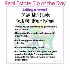 Are you looking for a good Real Estate Tip when you're selling a home? Make sure to take the funk out of your home. #realestate #homesellingtips